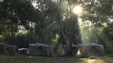 Camping site at sunrise Footage