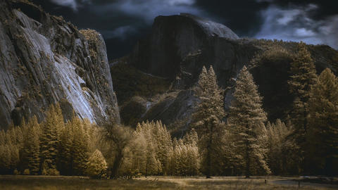 Half Dome Yosemite National Park Timelapse In Whimsical Color Infrared stock footage