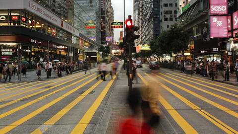 Busy pedestrian crossing on nathan road kowloon hong kong china t lapse Live Action