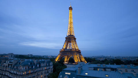 The world famous eiffel tower in natural light paris france europe t lapse Live Action