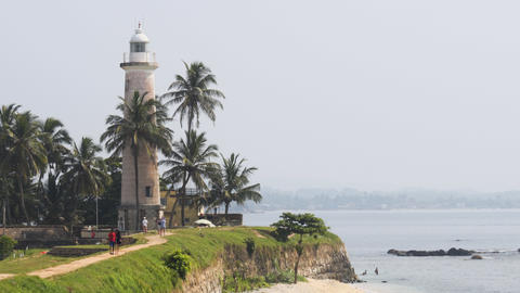 Tourists Visiting Lighthouse of Galle Fort in Sri Lanka Footage