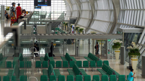 Passengers in the terminal of Bangkok airport Footage