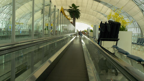 Travelator in the terminal of Bangkok airport Footage