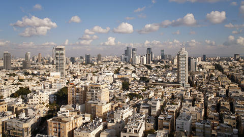 Elevated city view towards the commercial and business center tel aviv Live Action