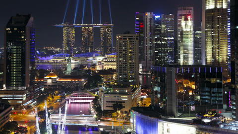 Elevated illuminated view over the entertainment district of clarke quay Footage
