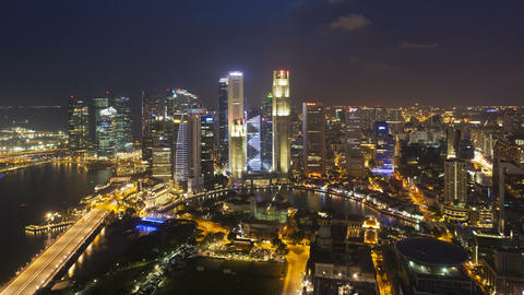 Elevated illuminated view over the city skyline and financial district sing Footage