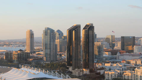 San diego city skyline time lapse day to early dusk Live Action