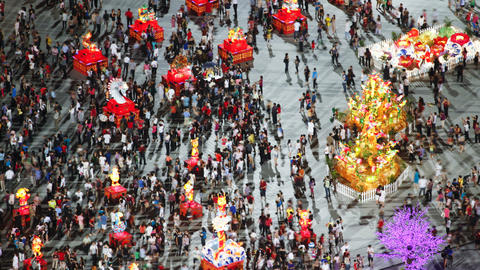 River hongbao decorations for chinese new year celebrations at marina bay Footage