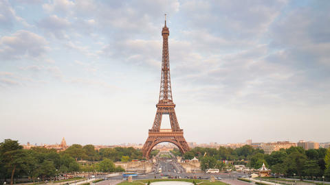 The world famous eiffel tower in natural light paris france europe t lapse Footage