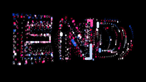 Letters are collected in text END, then scattered into strips. Bright colors Animation