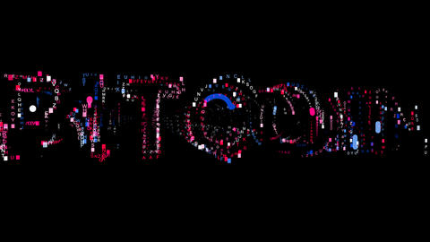 Letters are collected in crypto currency name BITCOIN, then scattered into Animation