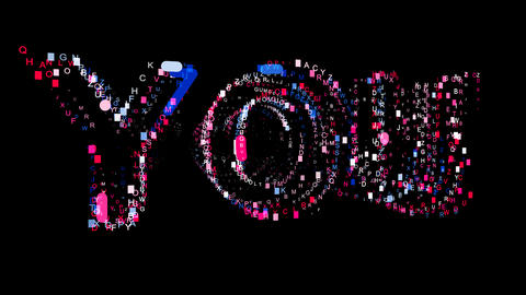 Letters are collected in text YOU, then scattered into strips. Bright colors Animation