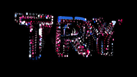 Letters are collected in text TRY, then scattered into strips. Bright colors Animation