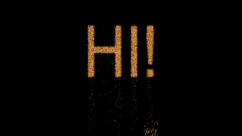 greeting HI! appears from the sand, then crumbles. Alpha channel Premultiplied - Animation