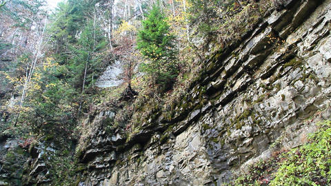 Manyavskii waterfall in Carpathian mountains Footage