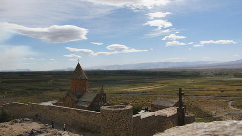Landscape view of Khor Virap Monastery in Armenia Footage