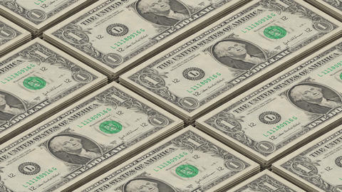 Dollar bills money background. Portrait of George Washington Printing money loop Footage