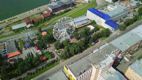 Russia, Izhevsk. Recreation Park with a Ferris wheel. Embankment, From Dron Footage
