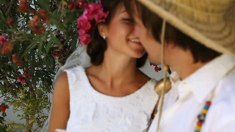 Beautiful newlyweds. boho style. greece Footage