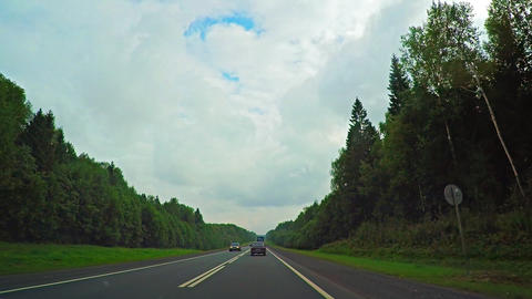 Driving along a Busy Rural Highway in Russia Footage