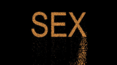 text SEX appears from the sand, then crumbles. Alpha channel Premultiplied - Animation