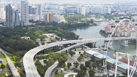Dramatic Singapore Cityscape with Complex Highway System Live Action