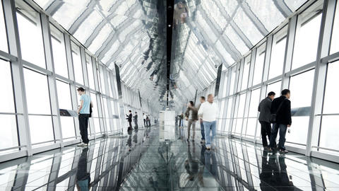 Viewing rooftop inside the shanghai world financial center shanghai china Footage
