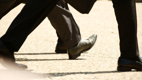 Group of people walking together slow motion business people shoes feet foots Footage