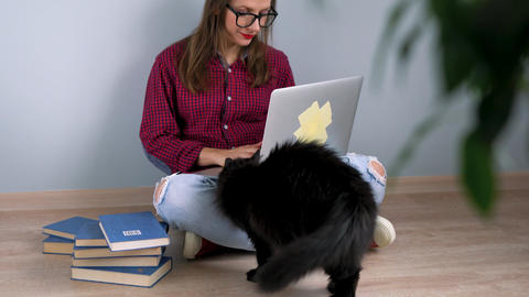 Beautiful girl using laptop, stroking a cat and sitting on the floor at home ビデオ