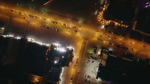 Ogarev Mordovia State University in the night and Millennium Square. Aerial Footage