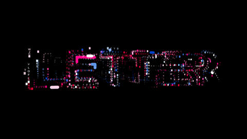 Letters are collected in text LETTER, then scattered into strips. Bright colors Animation