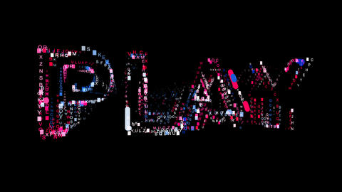 Letters are collected in text PLAY, then scattered into strips. Bright colors Animation