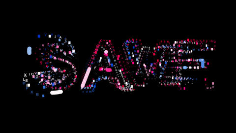Letters are collected in text SAVE, then scattered into strips. Bright colors Animation