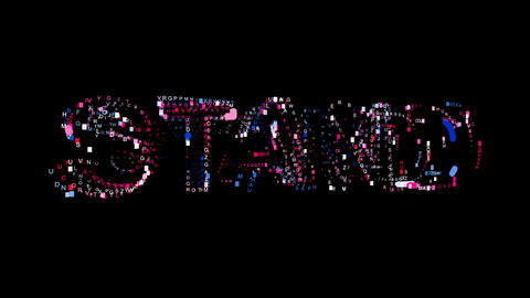 Letters are collected in text STAND, then scattered into strips. Bright colors Animation