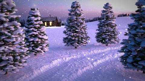 animation of magic winter snowfall sunset scene with snowy meadow a nd cottage Live Action
