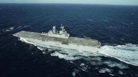 Future amphibious assault ship uss america lha 6 sails the gulf Footage