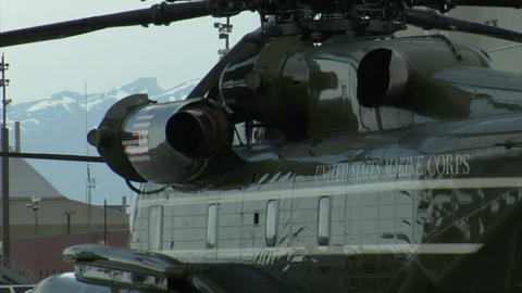 Side shot of presidential marine helicopter Live Action