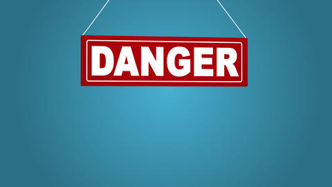 Sign board drop from top: danger. Business animation. White sign on red. Board Archivo