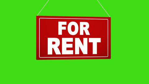 A business sign that says For rent Alpha channel keyed green screen Footage
