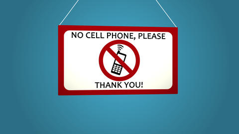 No cell phone sign on white background. Blue background Footage