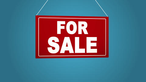A business sign that says: For sale. Animated board falls and sways. Blue Bild