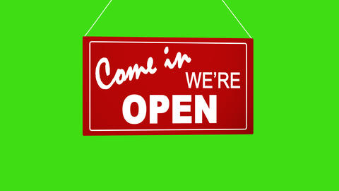 Sign board drop from top: come in we are open. Retail shop sign. Business Footage