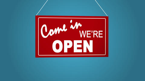 Sign board drop from top: come in we are open. Retail shop sign. Business Filmmaterial