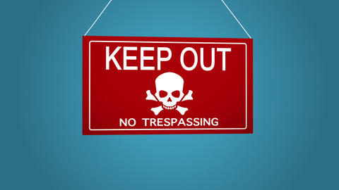 A business sign that says no trespassing, keep out Footage