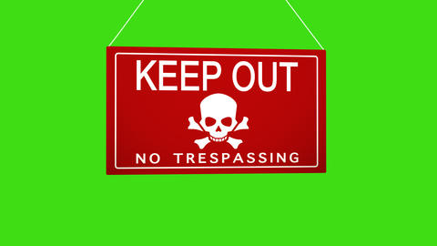 A business sign that says: keep out no trespassing. Animated board falls and Footage