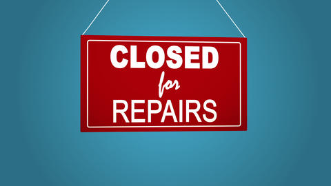 A business sign that says closed for repairs. Blue background Footage