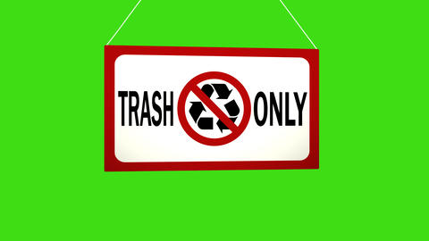 A business sign that says: trash only. Animated board falls and sways. Alpha Footage