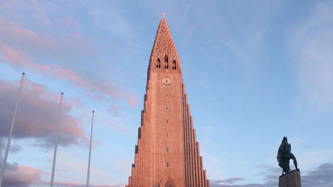 REYKJAVIK Hallgrimskirkja Lutheran Church at Sunset Footage