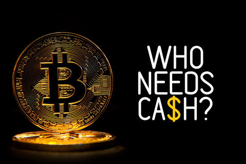 Bit coin isolated on black background with text WHO NEEDS CASH Photo