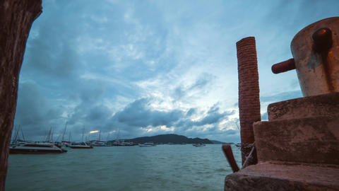 View from Chalong Pier at Moving Tropical Storm Typhoon Sky Clouds. Phuket Archivo